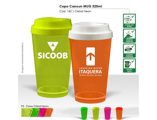 Copo Cancun MUG 320ml Cristal Neon Modelo INF 143