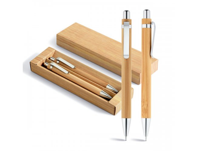 Conjunto de esferográfica e lapiseira. Bambu - Modelo INF 81162