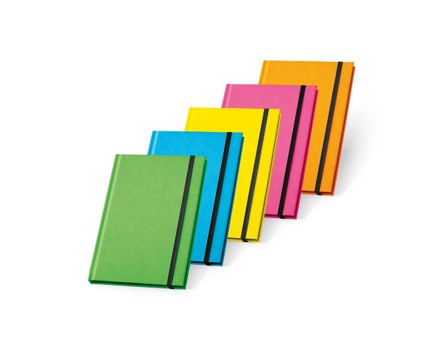 Caderno capa dura. PU fluorescente Modelo INF 93269  21 x 14