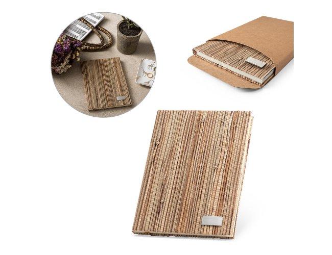 Caderno A5 com capa dura em palha natural