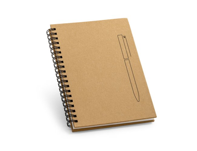 Caderno B6 capa dura. Papel kraft MOdelo INF 93419  com imã