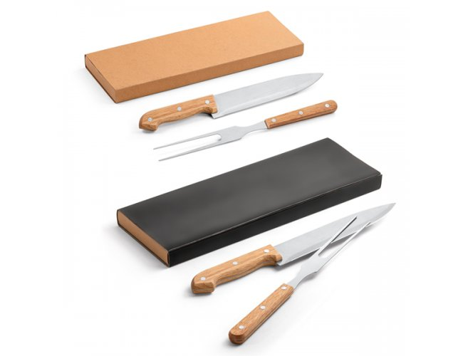 Kit churrasco. Aço inox e bambu. 2 peças em caixa kraft - Modelo INF 94139