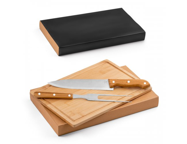 Kit churrasco. Aço inox e bambu Modelo INF 94143