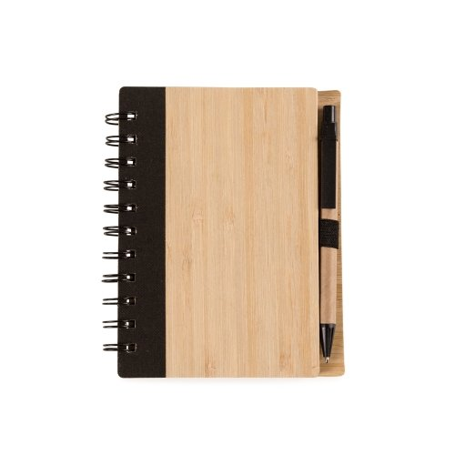 Bloco de anotações de bambu com caneta -Modelo INF 143326