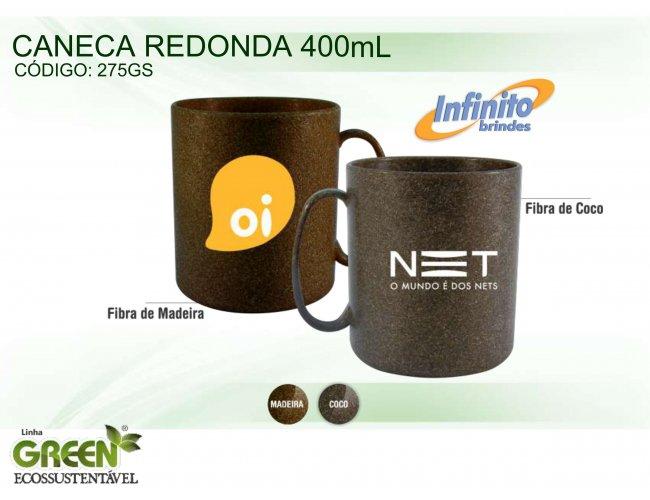CANECA PLÁSTICA REDONDA GREEN (400 ml) - INF G0275