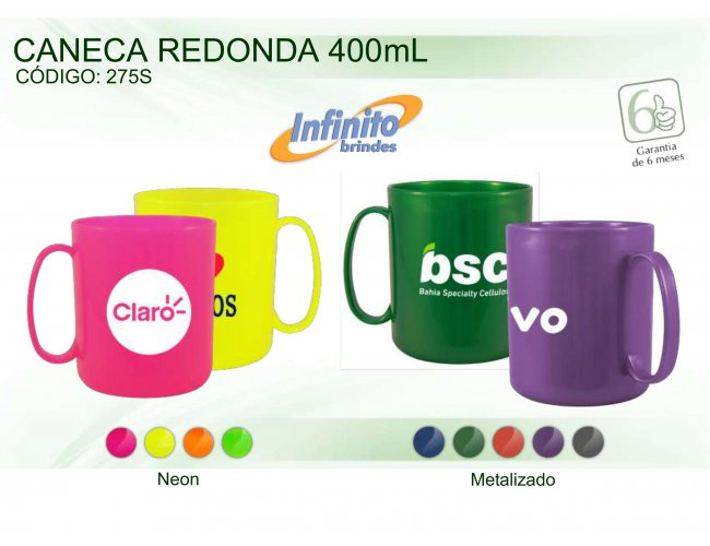 CANECA PLÁSTICA REDONDA (400 ml) - INF 0275
