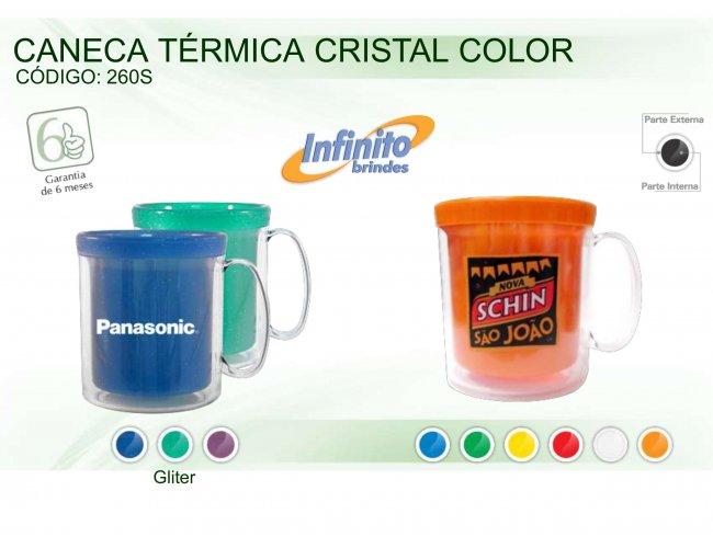 CANECA TÉRMICA CRISTAL COLOR Modelo INF 0260 GLITER