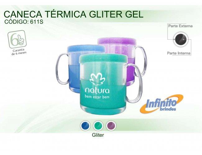 CANECA TÉRMICA GLITER GEL - Modelo INF 0611S