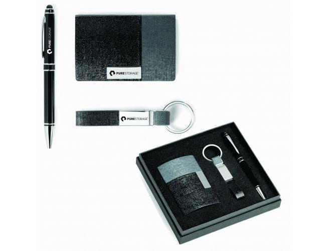 Kit de porta cartões, chaveiro e esferográfica - Modelo INF 93315