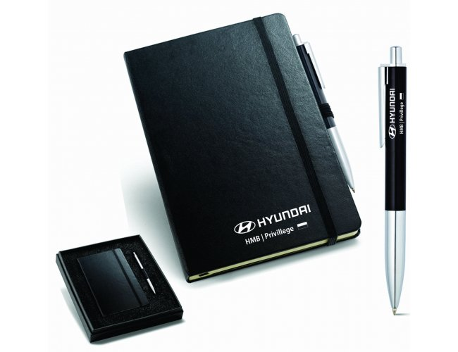 Kit de caderno e esferográfica. Cartão e alumínio.  - Modelo INF 93499
