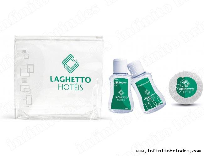 kit Amenities - Shampoo, Condicionador, Sabonete Plissado, Necessaire - Modelo INF 234K