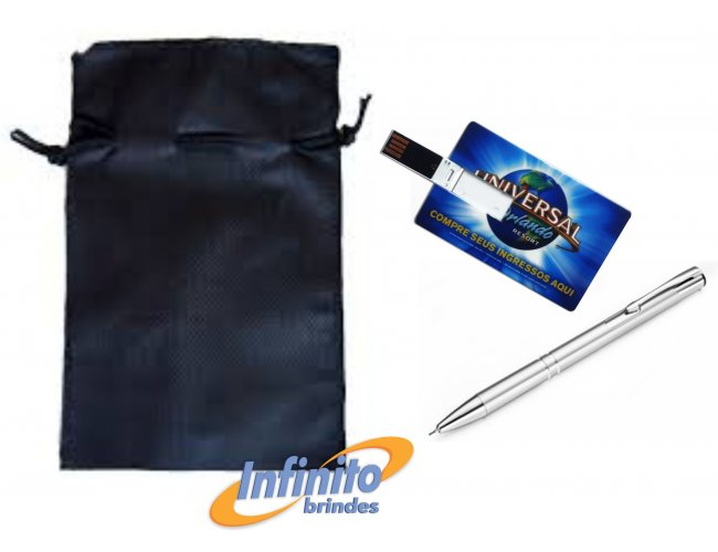 Kit Caneta e Pen drive Card - Modelo INF 10301