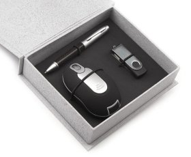 KIT MOUSE, PEN DRIVE E CANETA - INF 10191