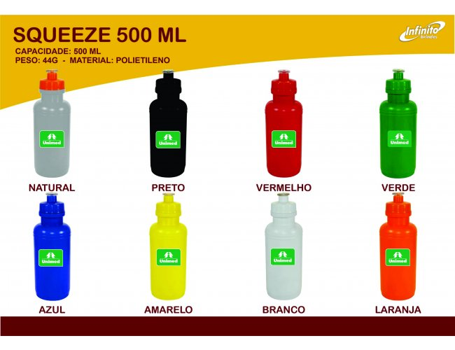 Squeeze Plástico 500ml - Modelo INF 0017Q